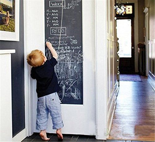 OrliverHL PVC Blackboard Chalkboard Sticker Wall Decal Contact Paper 17inch x 79inch (Clothes Decals Wall)