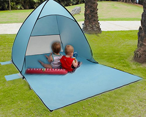 Tecare Pop Up Tent for Beach Kids Play Lightweight Portable Easy Setup Outdoors Anti-UV 50+ Beach Tent Sun Shelters (blue, 2-3 person) ¡­