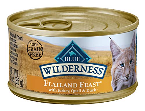 Blue Buffalo Wilderness High Protein Grain Free, Natural Adult Pate Wet Cat Food, Flatland Feast 3-oz cans (Pack of 24)