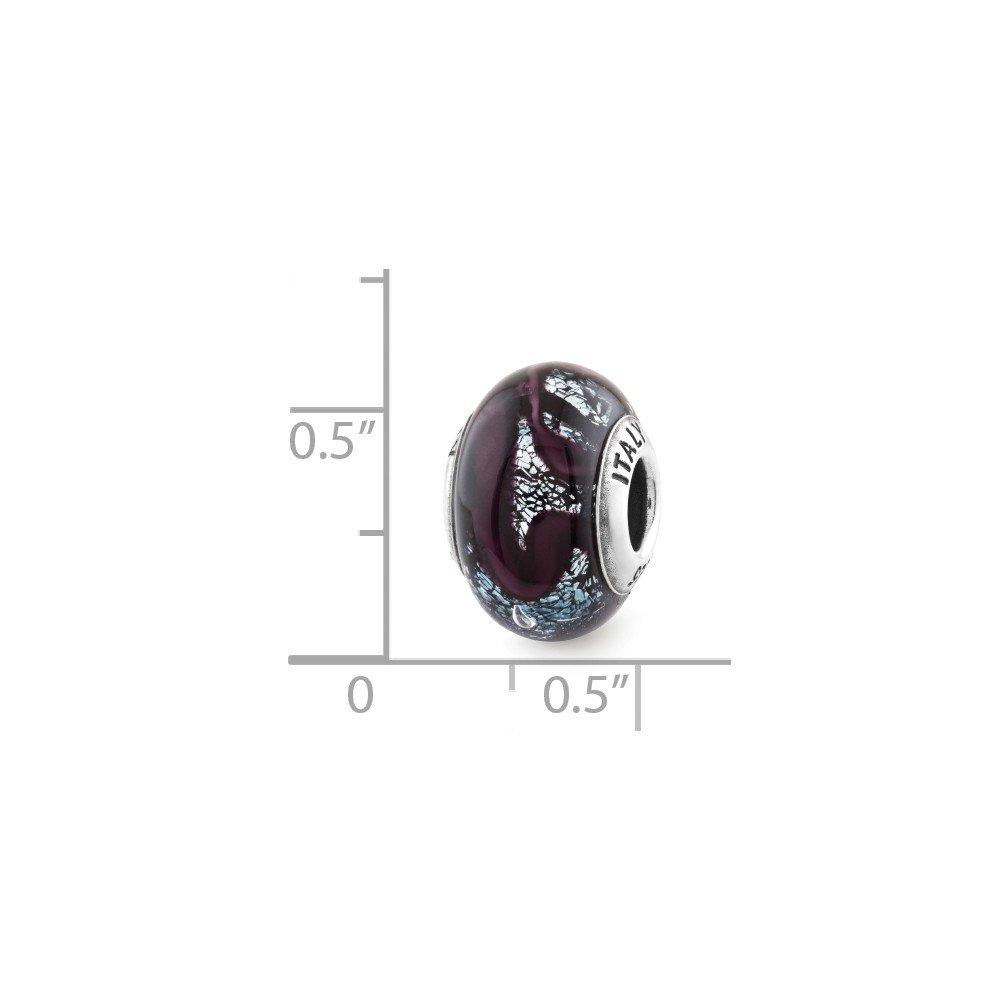 Solid 925 Sterling Silver Reflections Dark Purple Italian Glass Bead 9.1mm x 12.7mm