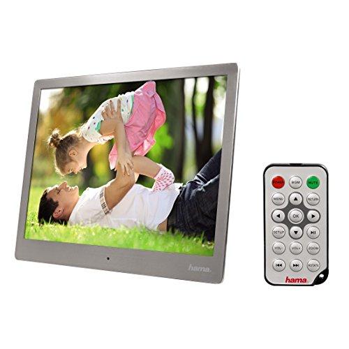 Hama Digitaler Bilderrahmen Slim Steel 24,64 cm (9,7 Zoll), SD/SDHC/MMC, USB, Musik-/Videowiedergabe, Auflösung 1024x768, mit Fernbedienung, Silberstahl
