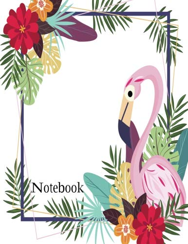 Bush Frame (Notebook: Flamingo in the frame of flowers on light pink cover and Dot Graph Line Sketch Blank pages, Extra large (8.5 x 11) inches, 120 pages, White paper, Sketch, Draw and Paint)