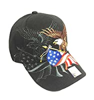 Aesthetinc Patriotic American Eagle and American Flag Baseball Cap USA 3D Embroidery