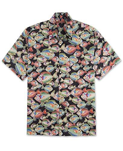 Tori Richard Big and Tall Aquatica Hawaiian Shirt (Black 3X)
