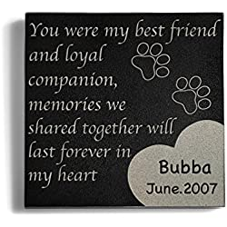 a Personalized Memorial Pet Headstone Customized - Paw Print Left by You - 6 x 6 Granite
