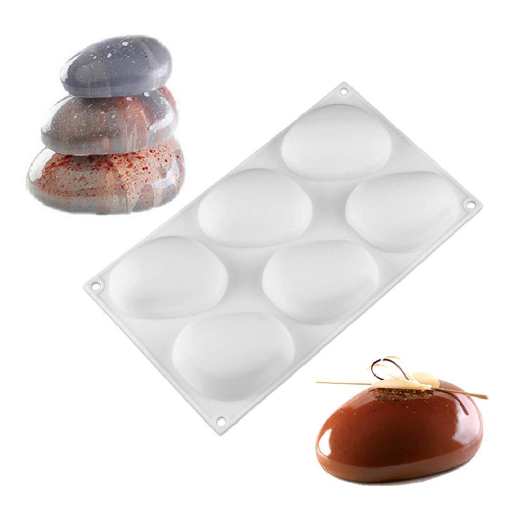 Stone Shape Silicone Cake Mold -Yawooya Mousse Baking Pan 6 Cavity Dessert Candy Decorating Kitchen Tools