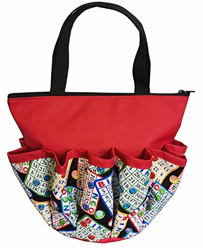 10 Pocket ''Bingo Cards and Chips Red'' Zipper Bingo Bag
