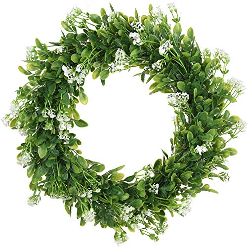 - TINGOR 15'' Artificial Green Leaf Wreath, Boxwood Round Wreath Adorn with White Gypsophila Flowers Perfect for Front Door Wall Window Party Décor