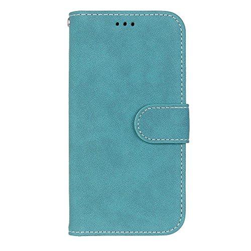 YHUISEN Estilo retro de color sólido Premium PU cuero cartera de la caja Flip Folio cubierta protectora de la caja con ranura para tarjeta / soporte para HTC One M9 ( Color : Black ) Blue