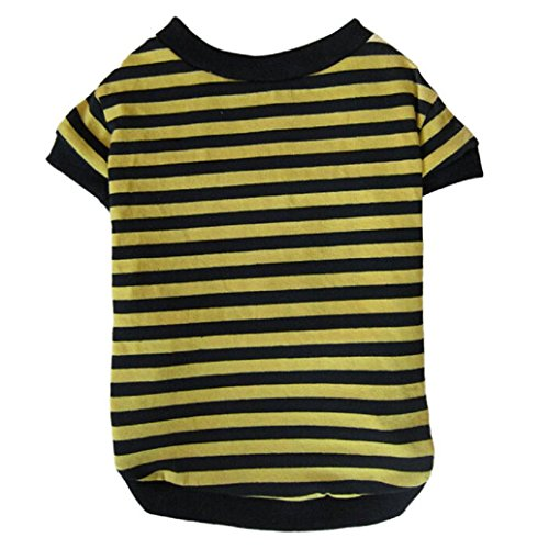 2017 Hot Pet Shirts! AMA(TM) Pet Puppy Small Dog Clothes Chihuahua Cotton Striped T-Shirt Doggy Classic Apparel Costume (M, Yellow) (Michigan Striped Shirt)