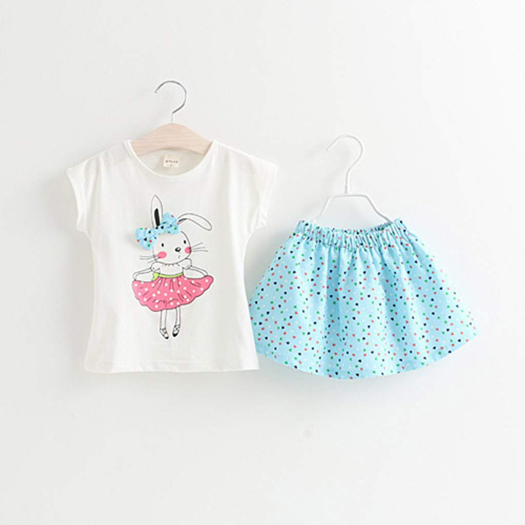 cbeaeb1df08 Amazon.com  Toddler Baby Girl Easter Day Bunny Outfits Short Sleeve T-Shirt  Tops+Dot Skirt Set 2-7T  Clothing