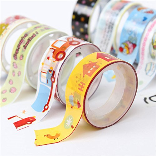 10 Rolls Mixed Cartoon Adhesive Decorative Scrapbooking Tape Sticker