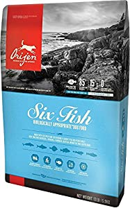 Orijen 13 LBS, Dry Dog Food, Six Fish Formula. 13 lb Bag (with Pacific Pilchard, Mackerel, Hake, FLOUNDER, Rockfish & Sole) Six Fish Formula