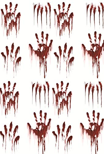 Leyiyi 6.5x10ft Gothic Halloween Backdrop Bloody Hand Print on White Board Abandoned House Grunge Graffiti Wall Hell Ghost House Photography Background Costume Carnival Photo Studio Prop Vinyl Banner -