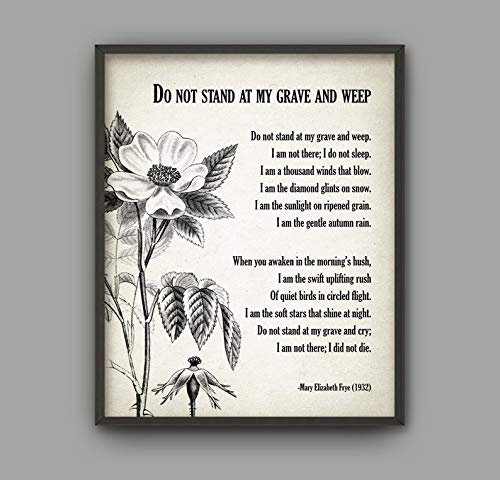 Mini Wood Do Not Stand at My Grave and Weep Poem - Mary Elizabeth Frye - in Memory of - Bereavement Print - Memorial Decor - Poetry Wall Art Décor (Do Not Stand At My Grave And Weep)