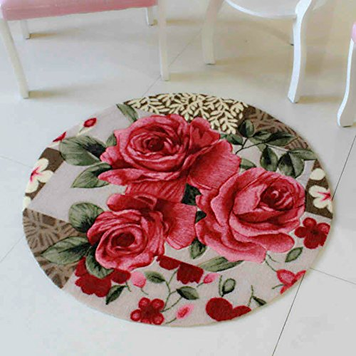 Sytian 31.49x31.49 Inch Rural Rug Rose Flower Rug Decorative Bedroom Living Room Carpet Mordern Shaggy Area Rug Soft Non-slip Doormat Floor Mat Bath Mat Bathroom Shower Rug (Pretty Rose Flowers) ()
