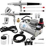 OPHIR 2-Airbrush Kit 0.2mm 0.3mm 0.5mm Dual Action with Air Compressor for Hobby Car Paint 110V