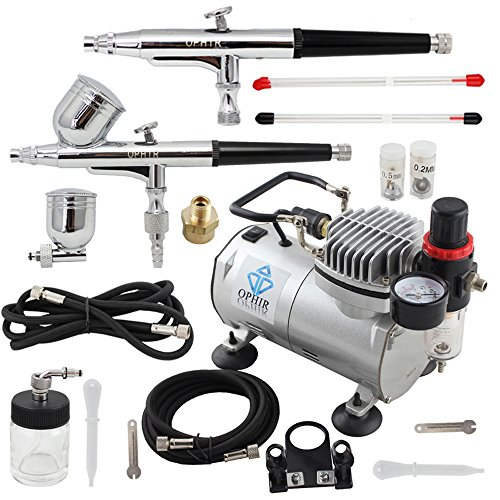 OPHIR 2-Airbrush Kit 0.2mm 0.3mm 0.5mm Dual Action with Air Compressor for Hobby Car Paint 110V by OPHIR