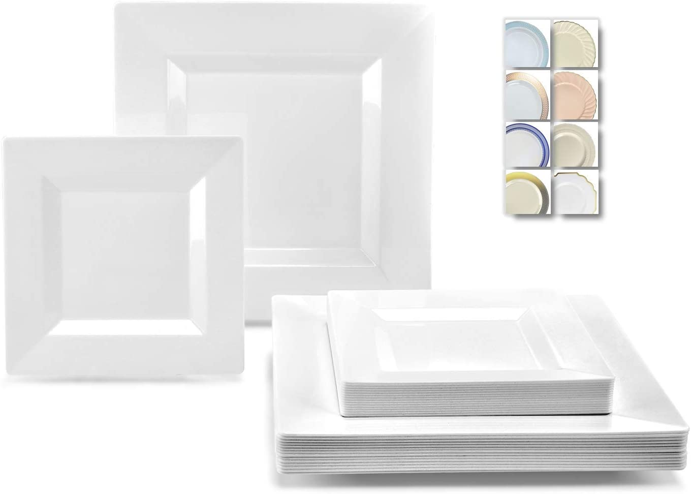 OCCASIONS 240 Plates Pack,(120 Guests) Wedding Party Square Disposable Plastic Plates Set -120 x 9.5'' Dinner + 120 x 6.5'' Dessert (Square White) 51DAmijM8qL