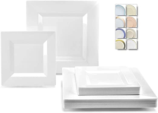 """120 6.5/"""" Square BLUE Dispsable Wedding Dessert Plates /""""LOOK REAL/"""""""