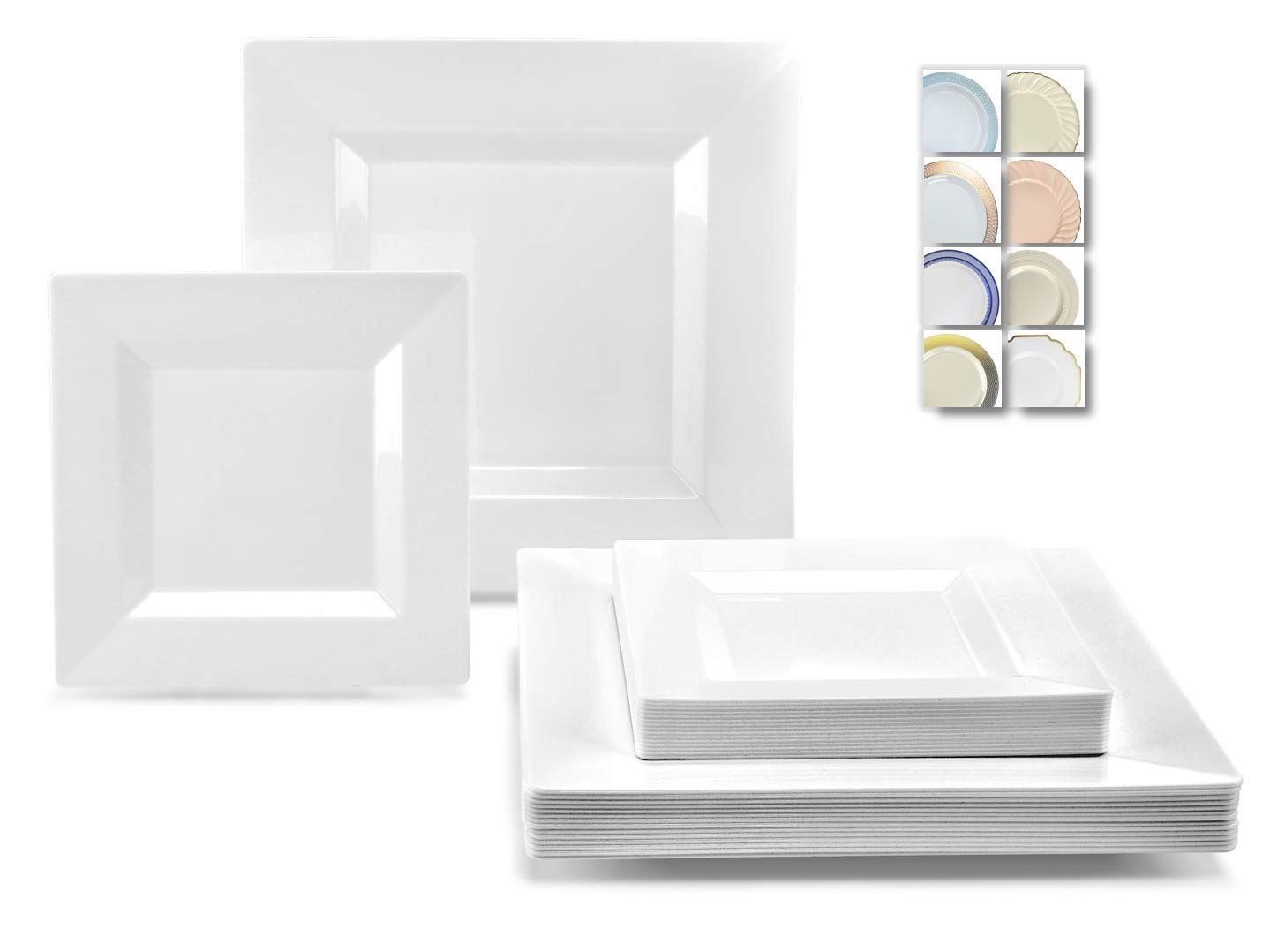 '' OCCASIONS'' 50 Plates Pack (25 Guests) - Heavyweight Wedding Party Square Disposable Plastic Plate Set - (25 x 9.5'' + 25 x 6.5'' (Square White) by OCCASIONS FINEST PLASTIC TABLEWARE