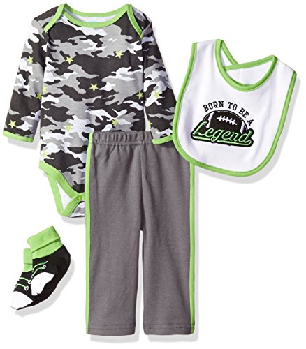 BON BEBE Baby Boys' 4 Piece Pant Set With Bib Bodysuit and Booties, Born To Be a Legend Camo, 3-6 (Legends Piece)
