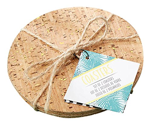 Kate Aspen Tropical Gold Glits Cork Coaster (Set of 2)