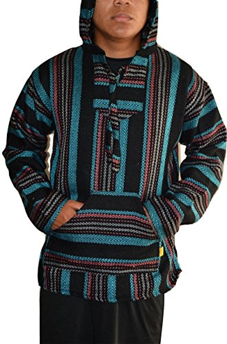 Mexican Baja Hoodie Pullover Jerga Drug Rug Sweater - Black Teal Rust (Medium)
