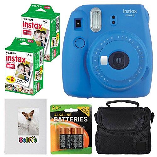 9 Instant Film Camera (Cobalt Blue) + Fujifilm instax Mini Instant Film (40 Exposures) + 4 AA Batteries + Compact Camera Case + Selfie Photo Album - Full Accessory Bundle ()