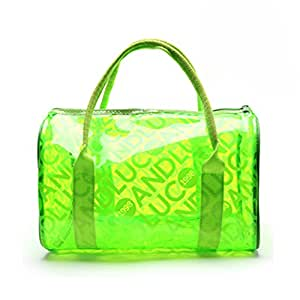Eforstore 2015 Latest Summer Candy Color Clear Beach Tote Bags Large Stripe PVC Swim Handbag Jelly Bag with Zipped Closure for Women Girls (Green)