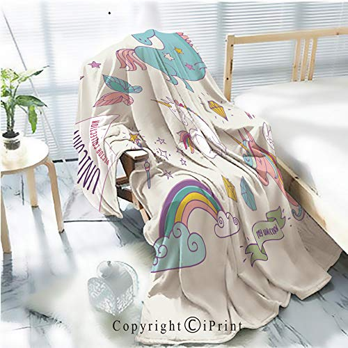 Printed Flannel Sherpa Back Blanket,Cute Magic Collection with Unicon Rainbow Fairy Wings Rustic Home Decor Decorative,One Side Printing,W47.2 xH59.1
