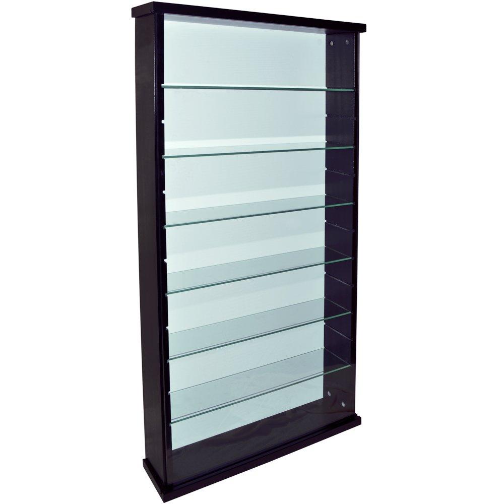 WATSONS EXHIBIT - Solid Wood 6 Shelf Glass Wall Display Cabinet - Black