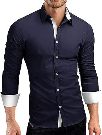 BKOLOUUOE Mens Shirts Mens Casual Slim Fit Long Sleeve Shirt Autumn Solid Color Button Down Shirt Top Blouse