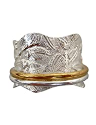 Energy Stone All Silver Meditation Spinning Ring Leaf Raised Pattern Shank with 2 Silver Spinners (Sku# SR19)