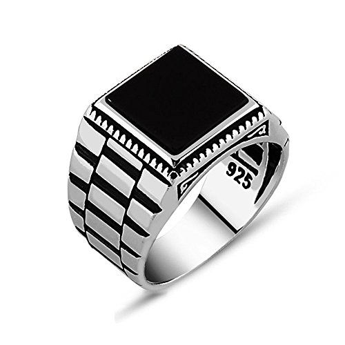925 Sterling Silver Onyx - Chimoda Mens Solitaire Silver Rings 925 Sterling Men's Jewelry with Black Onyx Stone (12)