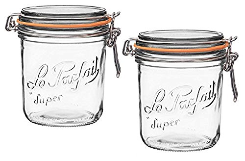 Le Parfait French Terrines Wide Mouth Glass Canning Jar with 100mm Gasket, 750 Grams (Pack of 2)