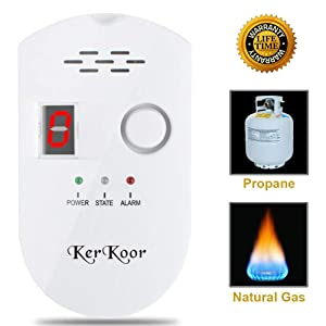 KerKoor Gas Leak Detector Natural Gas Alarm Detector for Home Gas Teste (Gas Leak detectors)