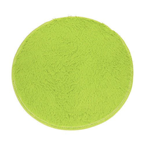Round Shape - Non-Slip Soft Plush Coral Fleece Plain Area Rugs - Shaggy Chair Cover Couch Stool Seat Pad Mat Cushion Carpet Blanket - Home Decorator Bedroom Sofa Floor Bathroom (Green)