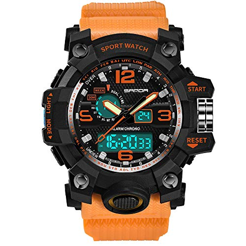 Watches for Men Hessimy Men's Digital Sports Wrist Watch LED Screen Large Face Electronics Military Watches Waterproof Alarm Back Light Outdoor Casual Luminous Simple Army ()