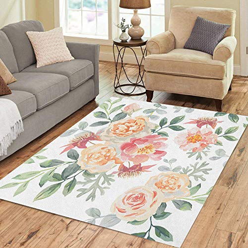 (Pinbeam Area Rug Pink Roses and Peonies Gray Leaves Romantic Garden Home Decor Floor Rug 5' x 7' Carpet)