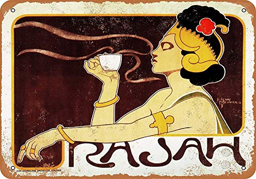 Rajah Coffee Tin Wall Signs Retro Iron Painting Metal Poster Warning Plaque Art Decor for Garage Home Garden Store Bar Café