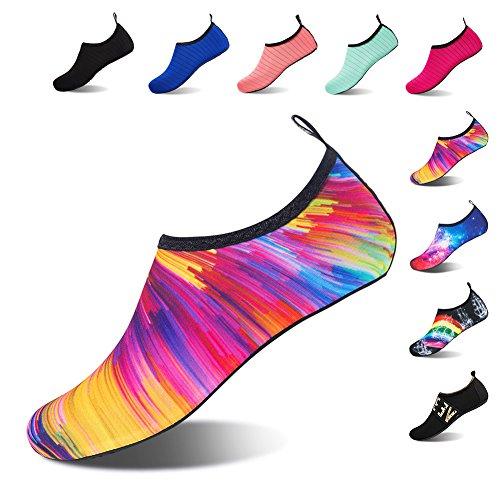 Damen Barfuß Wasserschuhe Schwimmschuhe Herren Schuhe Aquaschuhe Badeschuhe Multicolor Strandschuhe für Surfschuhe q85wWXR