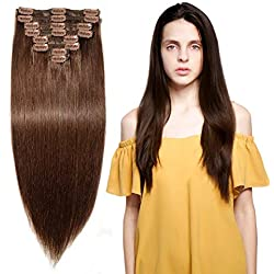 """160g Double Weft Clip in 100% Remy Human Hair Extensions #4 Medium Brown Grade 7A Quality Full Head Thick Long Soft Silky Straight 8pcs 18clips for Women Fashion 22"""" / 22 inch"""