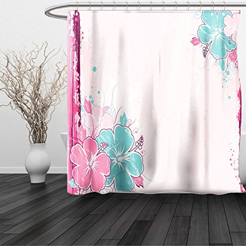 HAIXIA Shower Curtain Flower Bouquet of Hibiscus Florets Watercolor Elegance Beauty Artwork Light Pink Fuchsia Turquoise