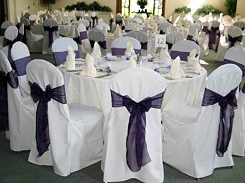 SPRINGROSE 100 White Polyester Standard Round Top Banquet Wedding Chair Covers. (Top Round Table Folding Standard)