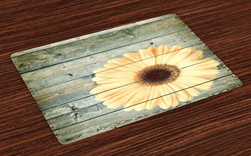 Sunflower Place Mats Set of 4 by Ambesonne, Rustic Wooden Planks with Sunflower Floral Oak Tree Daisy Gerbera Country, Washable Placemats for Dining Room Kitchen Table Decoration, Grey Pale Yellow