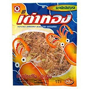 Taotong Squid Seasoned Cuttlefish Snack, Shredded (24g). Product of Thailand.