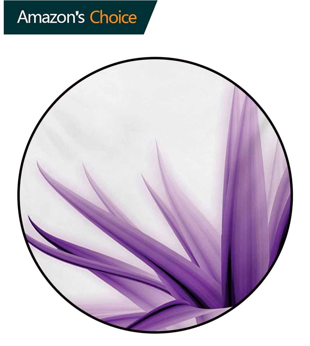 RUGSMAT Flower Modern Machine Round Bath Mat,Purple Ombre Style Long Leaves Water Colored Print with Calming Details Image Non-Slip No-Shedding Kitchen Soft Floor Mat,Round-31 Inch by RUGSMAT (Image #2)