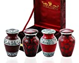 Funeral Keepsake Urns By SoulUrns - Red Small Mini Cremation Keepsake Urns for Human Ashes - Set of 4 - Includes Superb Velvet Urn Case
