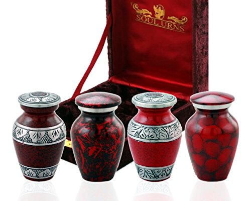 SOULURNS Funeral Keepsake Urns Red Small Mini Cremation Keepsake Urns for Human Ashes - Set of 4 - Includes Superb Velvet Box & Velvet Pouch